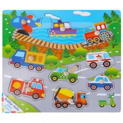 Detské drevené puzzle s úchytkami Baby Mix Doprava podľa