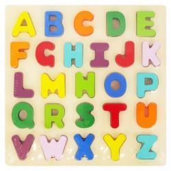 Detské drevené puzzle s úchytkami Baby Mix Písmená