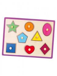 Detské drevené puzzle s úchytmi Viga Geometrické tvary multicolor