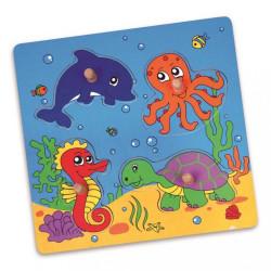 Detské drevené puzzle s úchytmi Viga More multicolor