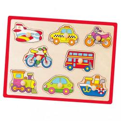 Detské drevené puzzle s úchytmi Viga Vozidlá multicolor