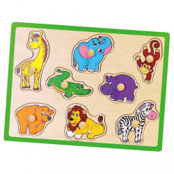 Detské drevené puzzle s úchytmi Viga ZOO multicolor