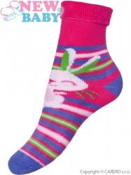 Detské froté ponožky New Baby ružovo-fialé s zajacom