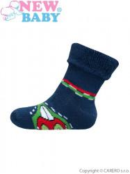 Detské froté ponožky New Baby zeleno-modré s autíčkom