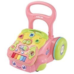 Detské hrajúce edukačné chodítko Baby Mix ružové
