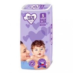 Detské jednorázové plienky New Love 5 JUNIOR 11-25 kg 38 ks biela
