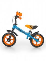 Detské odrážadlo kolo Milly Mally Dragon s brzdou orange-blue oranžová
