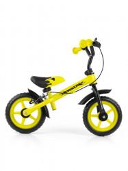 Detské odrážadlo kolo Milly Mally Dragon s brzdou yellow Žltá
