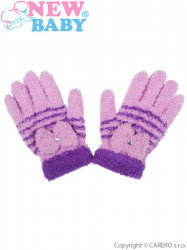 Detské zimné froté rukavičky New Baby fialové