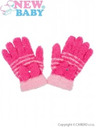 Detské zimné froté rukavičky New Baby tmavo ružové