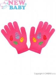 Detské zimné rukavičky New Baby Girl tmavo ružové