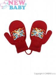 Detské zimné rukavičky New Baby s motýlikom červené