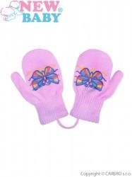 Detské zimné rukavičky New Baby s motýlikom fialové