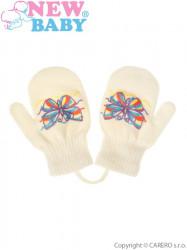 Detské zimné rukavičky New Baby s motýlikom krémové
