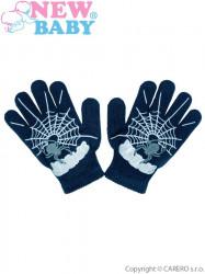 Detské zimné rukavičky New Baby s pavúkom modré