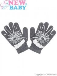 Detské zimné  rukavičky New Baby s pavúkom sivé