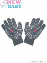 Detské zimné rukavičky New Baby s pavúkom svetlo sivé