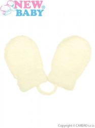 Detské zimné rukavičky New Baby so šnúrkou krémové
