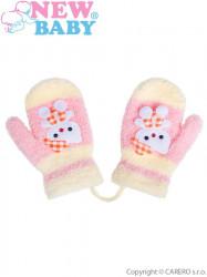 Detské zimné rukavičky New Baby so šnúrkou mačička