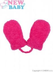 Detské zimné rukavičky New Baby so šnúrkou ružové