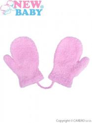 Detské zimné rukavičky New Baby so šnúrkou svetlo fialové