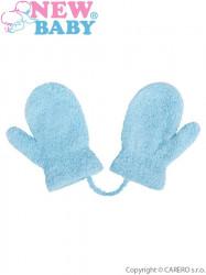 Detské zimné rukavičky New Baby so šnúrkou svetlo modré