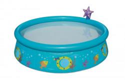 Detský bazén s nafukovacím okrajom a sprchou Bestway modrá