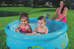 Detský bazén s nafukovacím okrajom a sprchou Bestway modrá #4