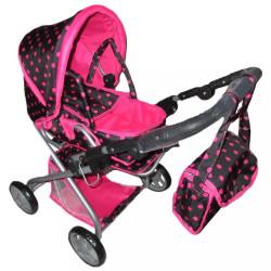Detský kočík pre bábiky 2v1 Baby Mix ružový s bodkami multicolor