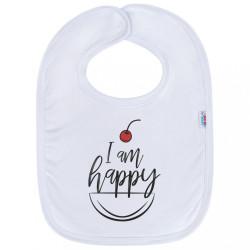 Detský podbradník New Baby I am happy biela