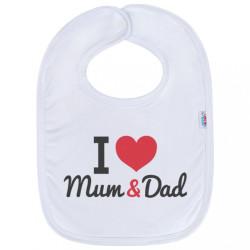 Detský podbradník New Baby I love Mum and Dad biela