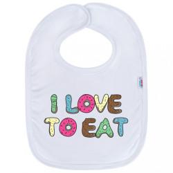 Detský podbradník New Baby I LOVE TO EAT biela