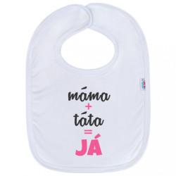 Detský podbradník New Baby máma+táta=JÁ ružový