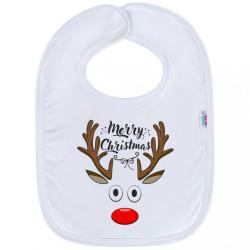 Detský podbradník New Baby Merry Christmas biela