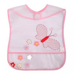 Detský podbradník s kapsičkou Akuku s motýlikom ružová