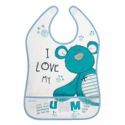 Detský podbradník s vreckom Akuku Teddy Bear tyrkysová