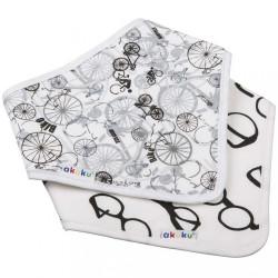 Detský podbradník-šatka Akuku 2 ks bicykel-okuliare biela