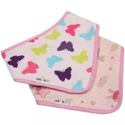 Detský podbradník-šatka Akuku 2 ks motýlik-myška ružová