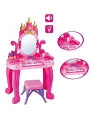 Detský toaletný stolík s pianom a stoličkou Bayo + příslušenství 13 ks ružová