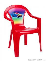 Detský záhradný nábytok - Plastová stolička červená auto