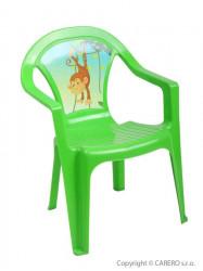 Detský záhradný nábytok - Plastová stolička zelená opica