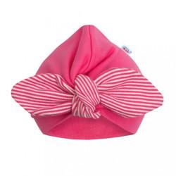 Dievčenská čiapočka turban New Baby For Girls stripes ružová