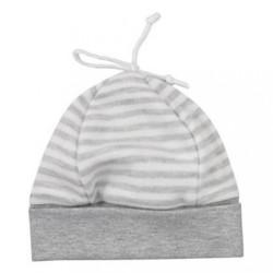 Dojčenská bavlnená čiapočka Koala Star s pruhmi sivá