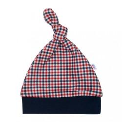 Dojčenská bavlnená čiapočka New Baby Checkered modrá