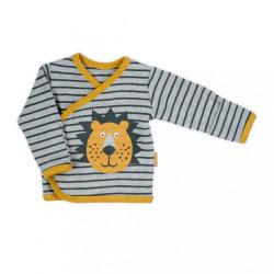 Dojčenská bavlnená košieľka Nicol Prince Lion sivá