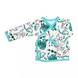 Dojčenská bavlněná košilka Nicol Dinosaur tyrkysová
