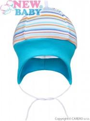 Dojčenská čiapočka na zaväzovanie New Baby Puppik 2 tyrkysová