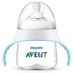 Dojčenská fľaša a hrnček 2v1 Avent Natural transparentná 150 ml