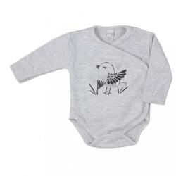 Dojčenské bavlnené body s bočným zapínaním Koala Birdy sivé