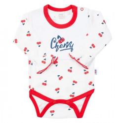Dojčenské bavlnené body s dlhým rukávom New Baby Cherry Červená